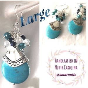 Frontrow.style Jewelry - Sterling Silver Earrings Howlite & Crystal Beads!